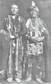 The last chief of the Kansa Indians, the man on the right was identified as Wah-shung-gah.